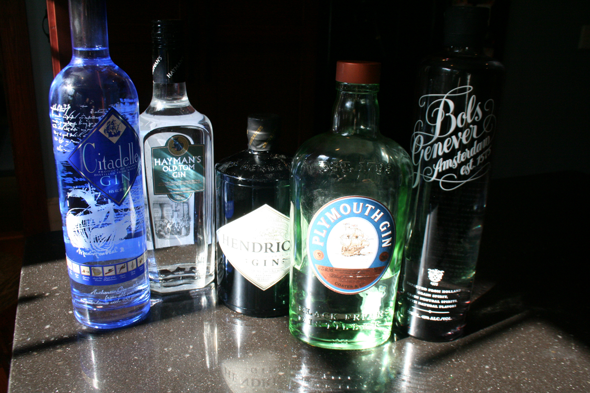 Part of our gin tasting line up - Citidelle, Hayman's Old Tom, Hendrick's, Plymouth, Bols Genever