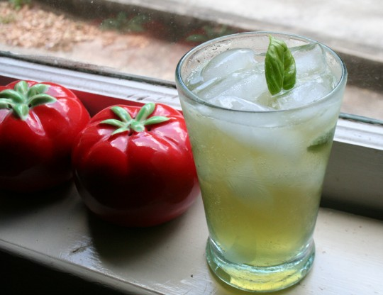 Basil Tom Collins cocktail
