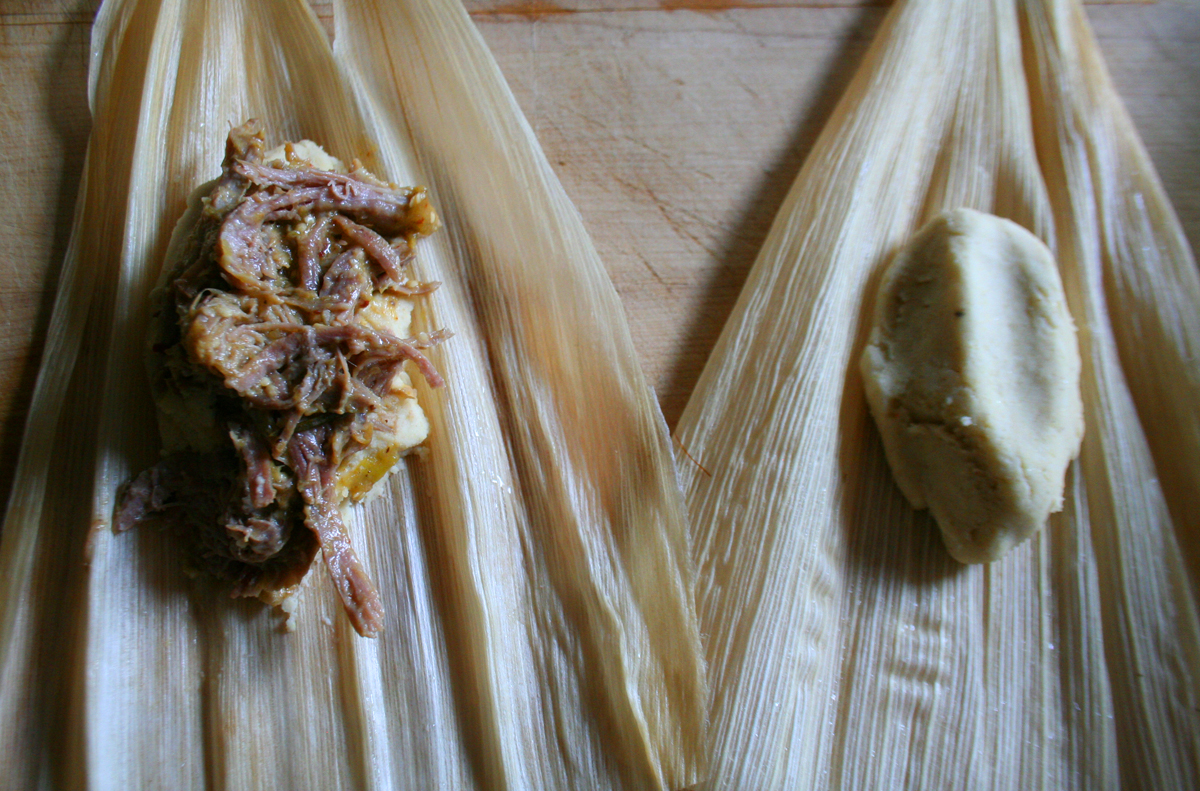 TamaleFilling Pork Tamales with Chile Verde Sauce