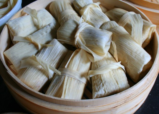 Pork Tamales Wrapped for the Steamer