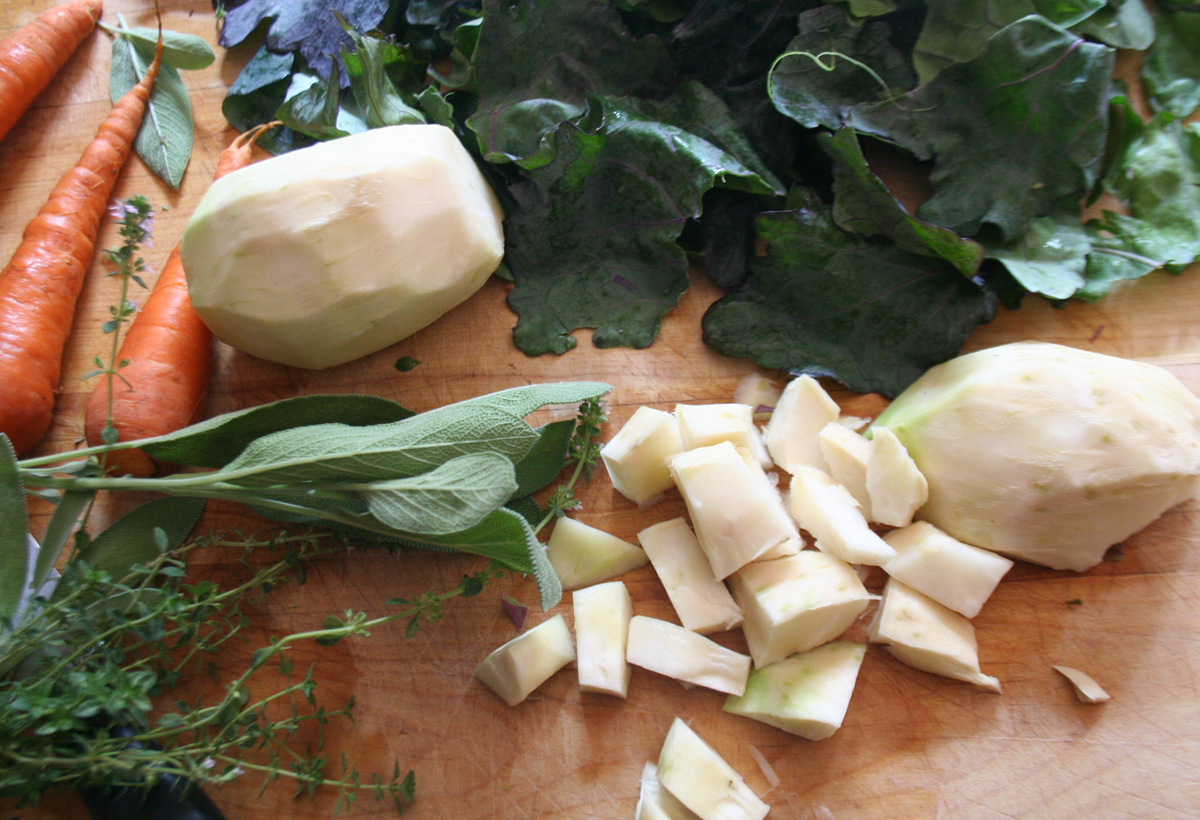 KohlrabiSoupMakings How to use Kohlrabi   another CSA box challenge