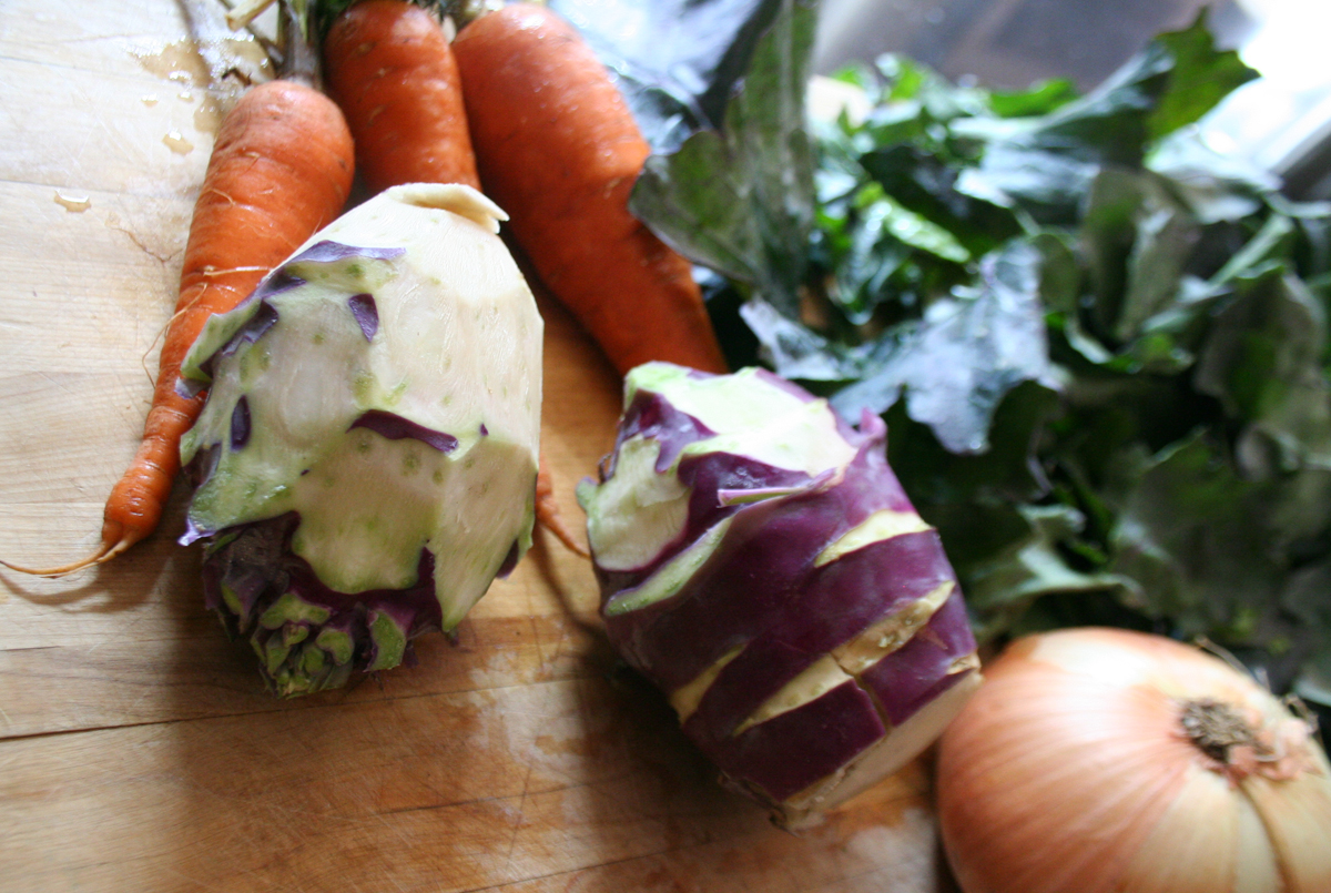 KohrabiCarrotsOnion How to use Kohlrabi   another CSA box challenge