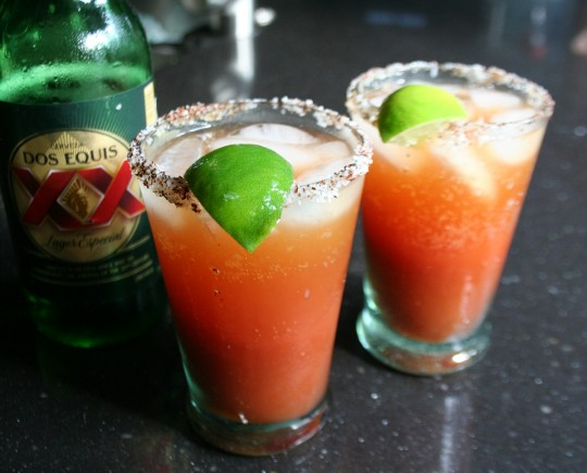 Micheladas, a Mexican beer and tomato cocktail