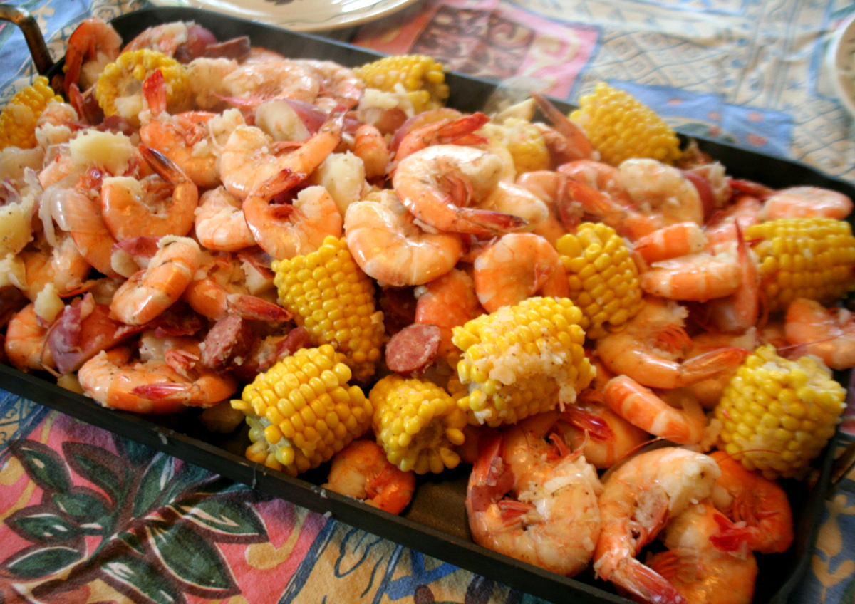 ShrimpBoilServed Carolina style Low Country Shrimp Boil