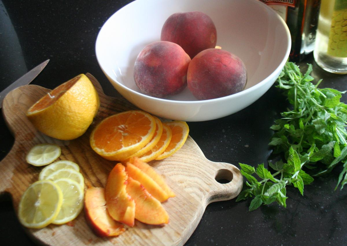 Slicing Fruit for White Wine Peach Sangria
