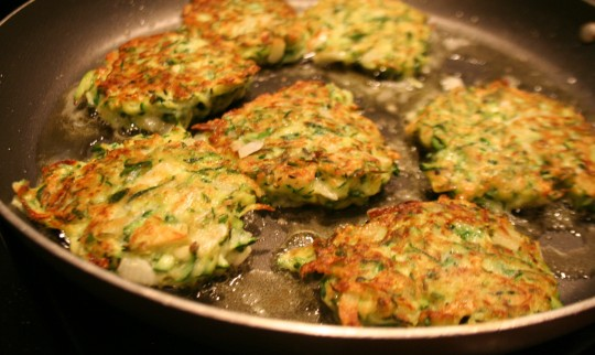 Zucchini pancakes or fritters