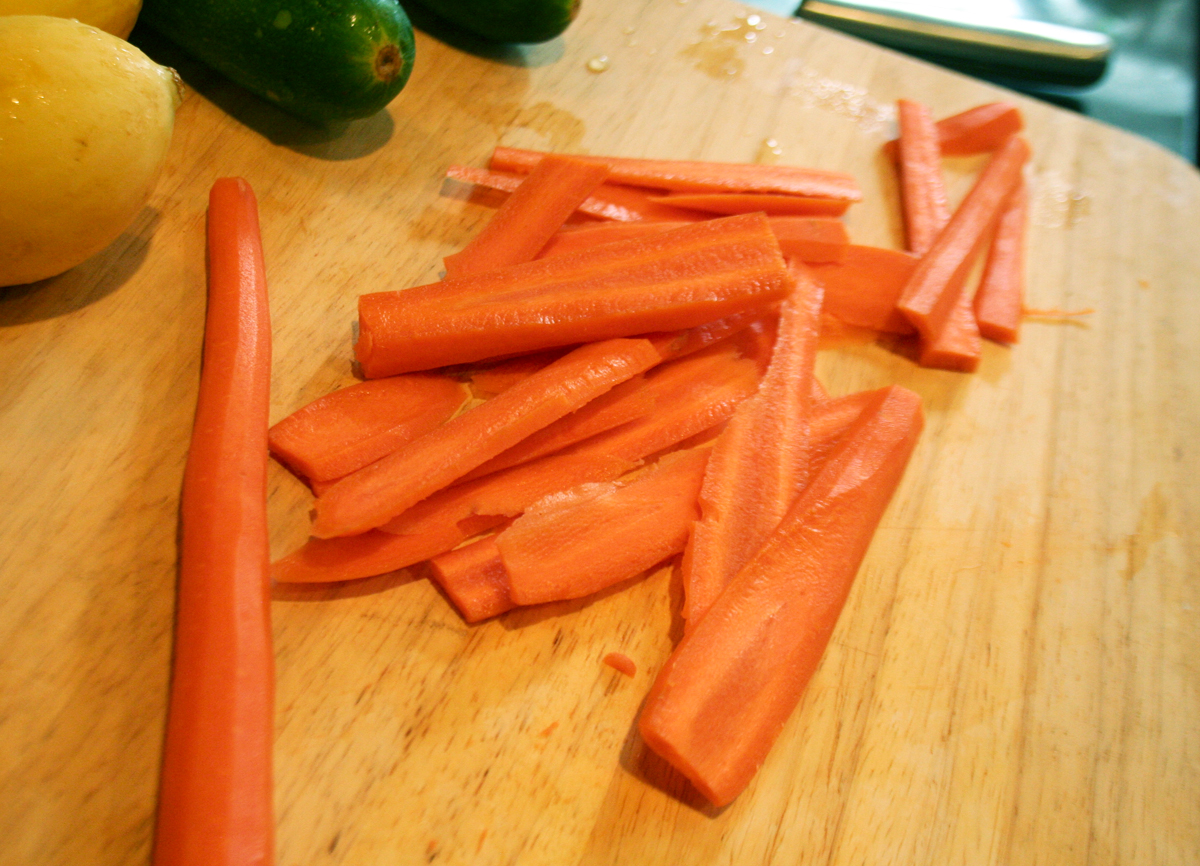 Carrots sliced thin and lengthwise