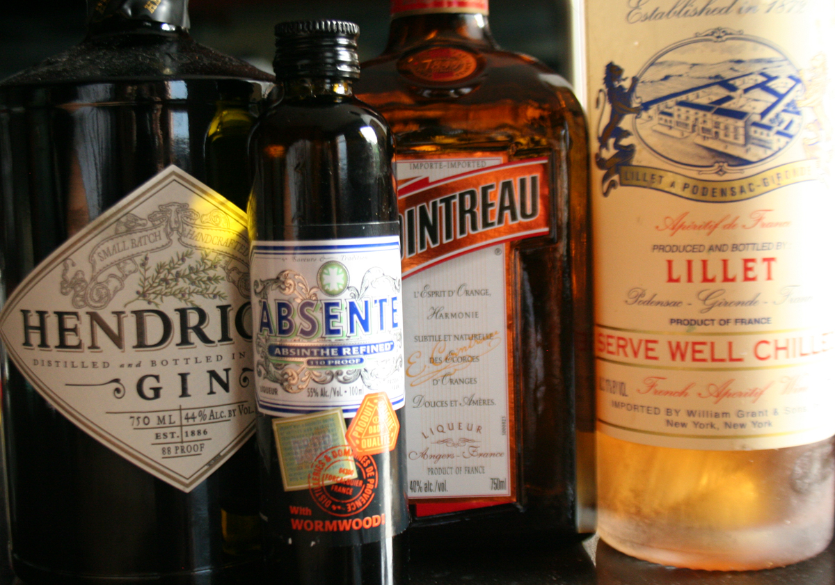 Corpse Reviver Ingredients - Gin, Absinthe, Cointreau, and Lillet Blanc