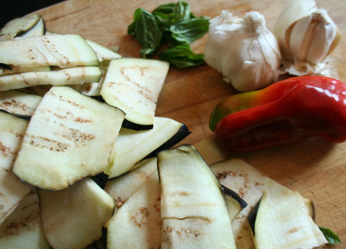 SlicedEggplantPepperGarlicBasil Italian Pickled Eggplant