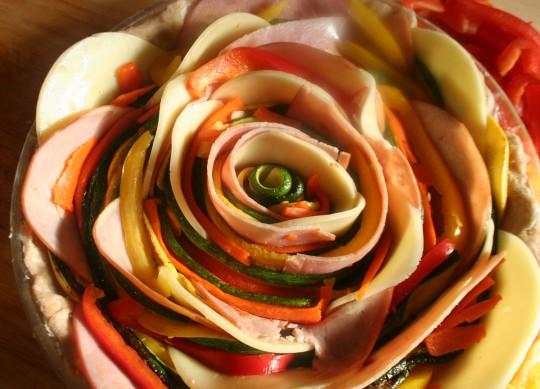 Multi-colored Ham & Vegetable Quiche