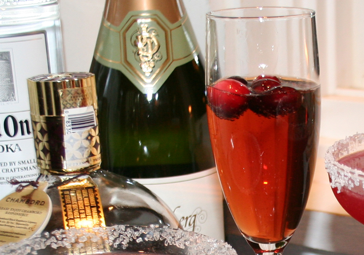Chambord Champagne cocktail with cranberries