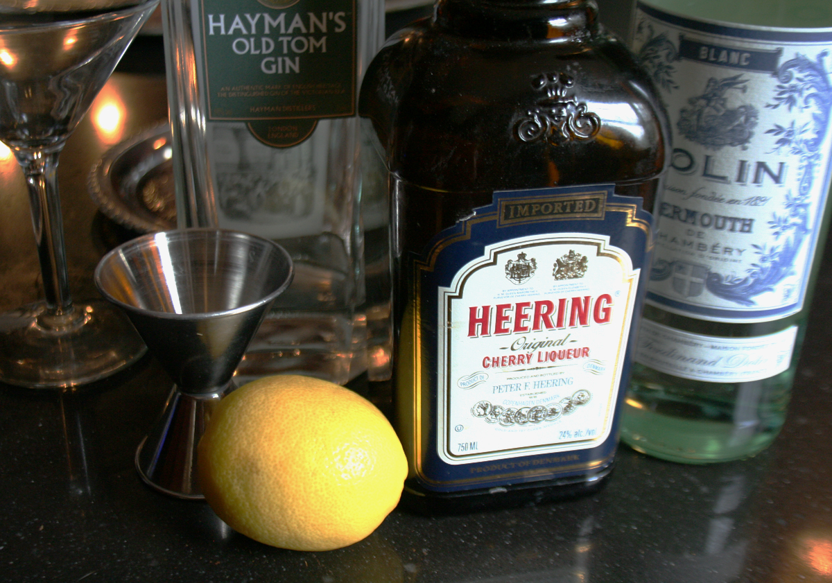 Gilroy Cocktail Ingredients - Cherry Heering, Gin and Dry Vermouth
