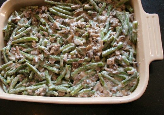Green Bean Casserole before the oven
