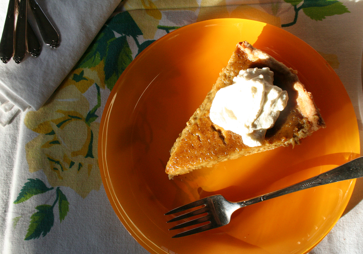 Slice of Pumpkin Pie made from scratch