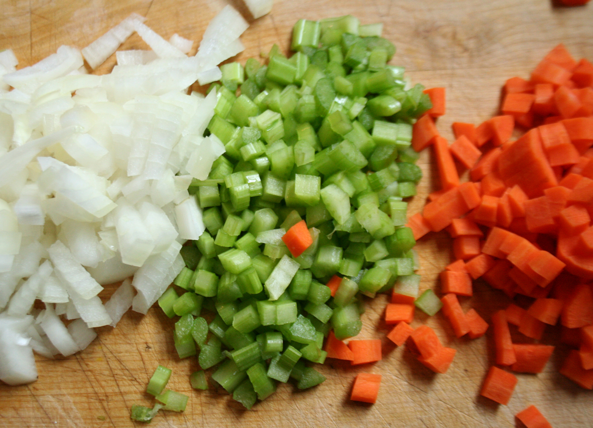 Mirepoix, uniformly diced onion, celery and carrot