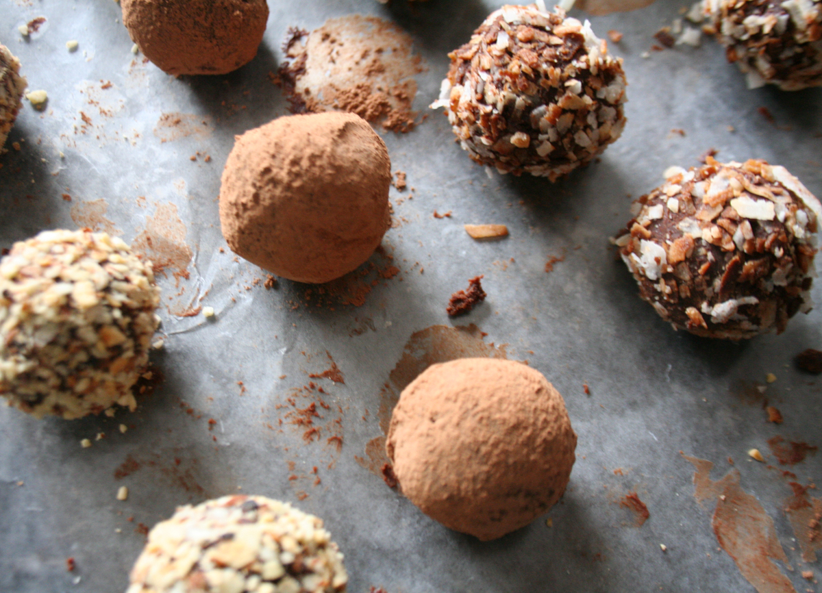 Chocolate truffles, rolled in cocoa, toasted almonds and toasted coconut