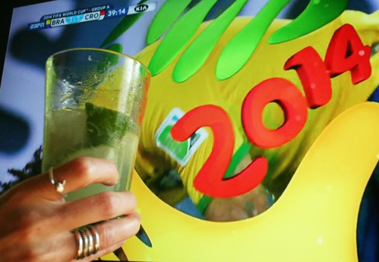 Celebrating the 2014 World Cup with a Caipirinha, the official cocktail of Brazil