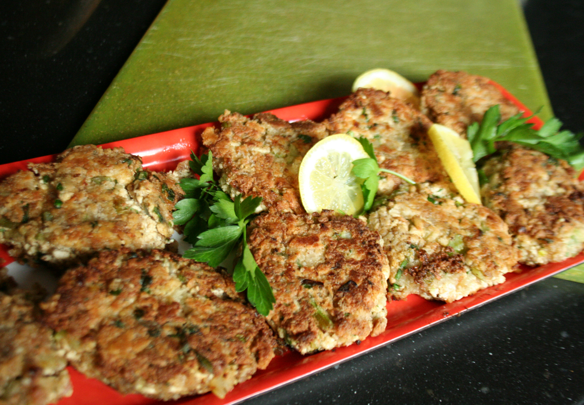 Tofu Crab Cakes, ready to serve