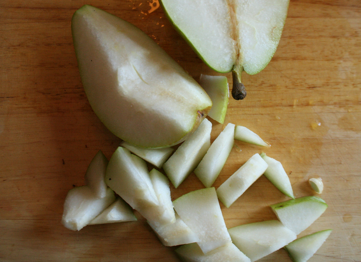 Slicing pears for Fall Spice Apple Cranberry Punch